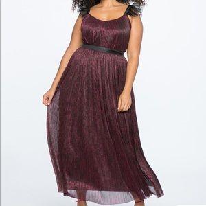 Eloquii Ruffle Strap Metallic Gown
